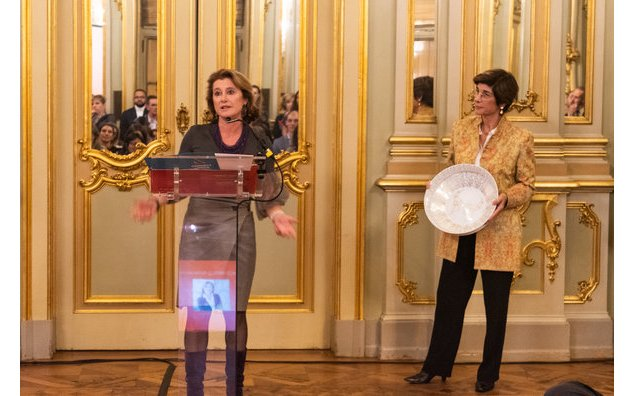 "Corinne Vigreux, lauréate du prix ""Lifetime Achievement"" au Women in Tech Global Wards 2019, 6 novembre 2019"